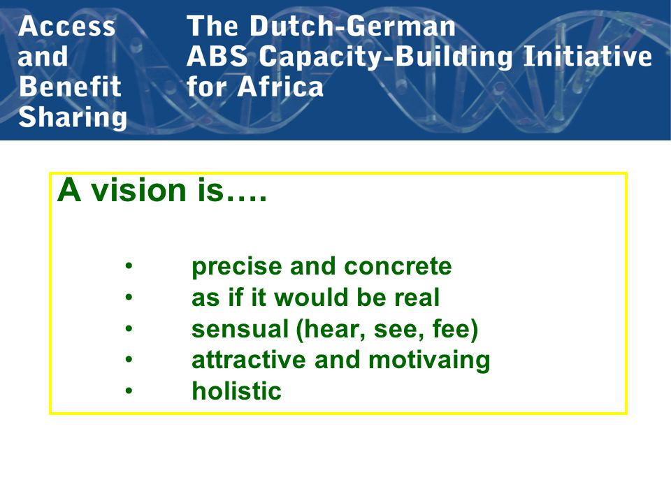 A vision is…. precise and concrete as if it would be real sensual (hear, see, fee) attractive and motivaing holistic