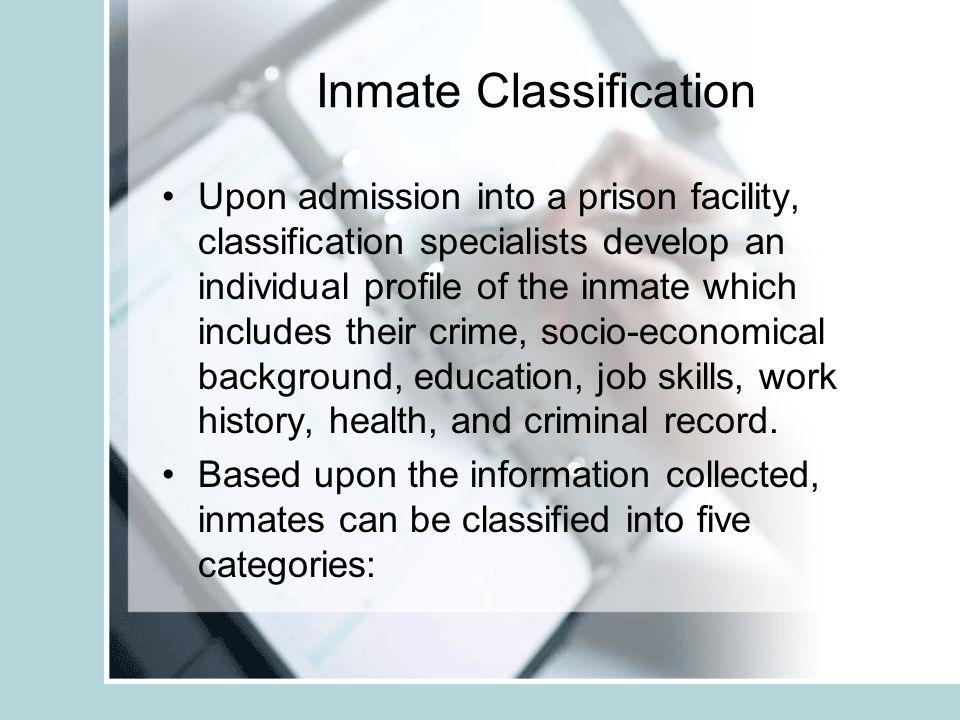 Criterion for Entrance in Correctional Education Program Correctional education is usually offered to medium custody inmates. Minimum and close custod