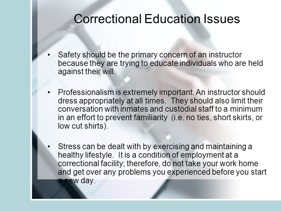 Issues Correctional Educators Face Safety Professionalism Stress Gender Bias
