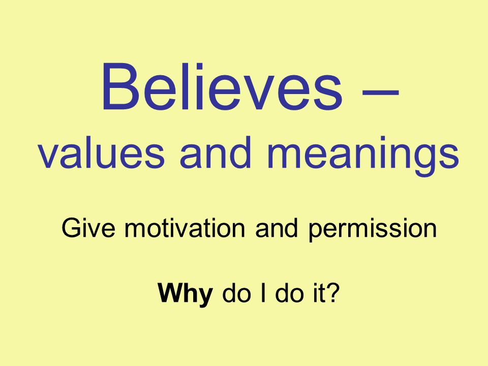 Believes – values and meanings Give motivation and permission Why do I do it