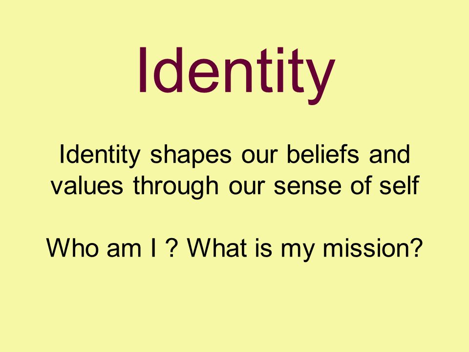 Identity Identity shapes our beliefs and values through our sense of self Who am I .