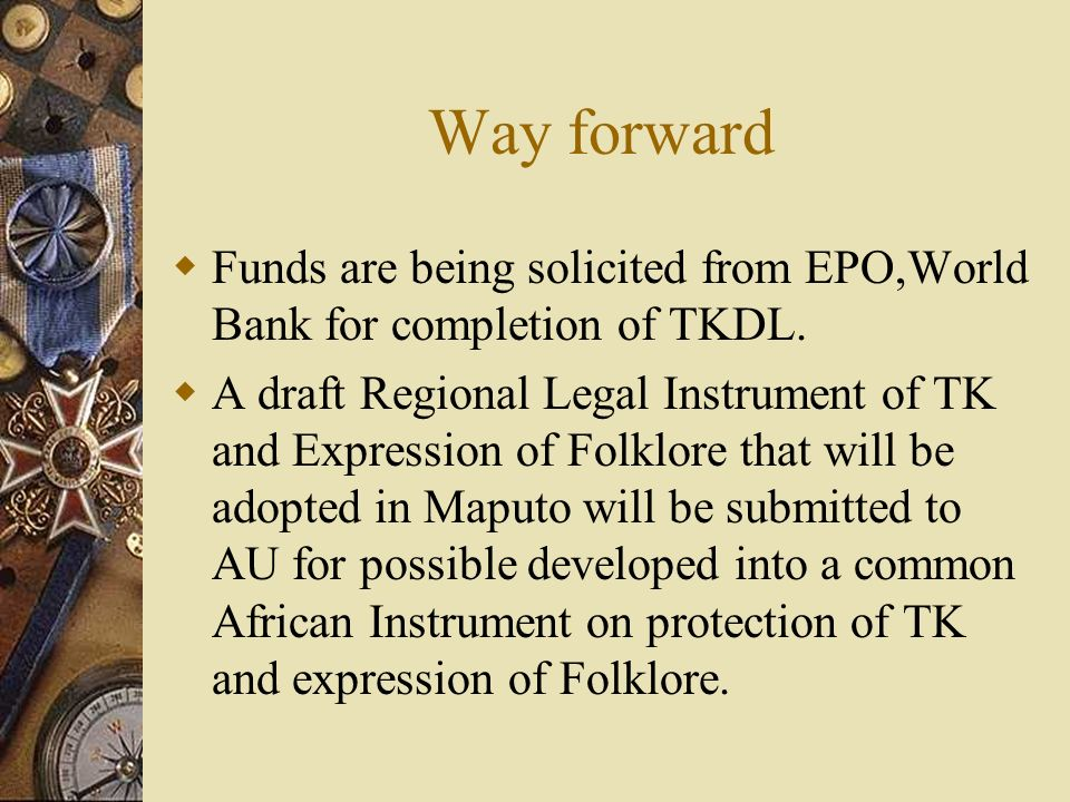Way forward Funds are being solicited from EPO,World Bank for completion of TKDL.