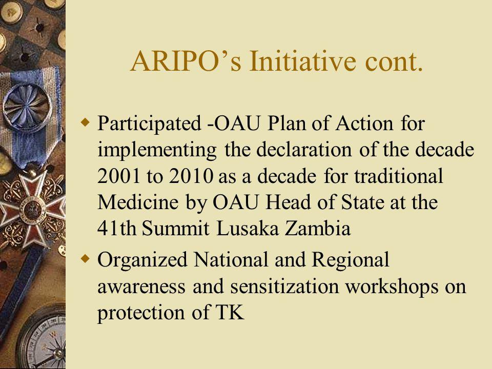ARIPOs Initiative cont.