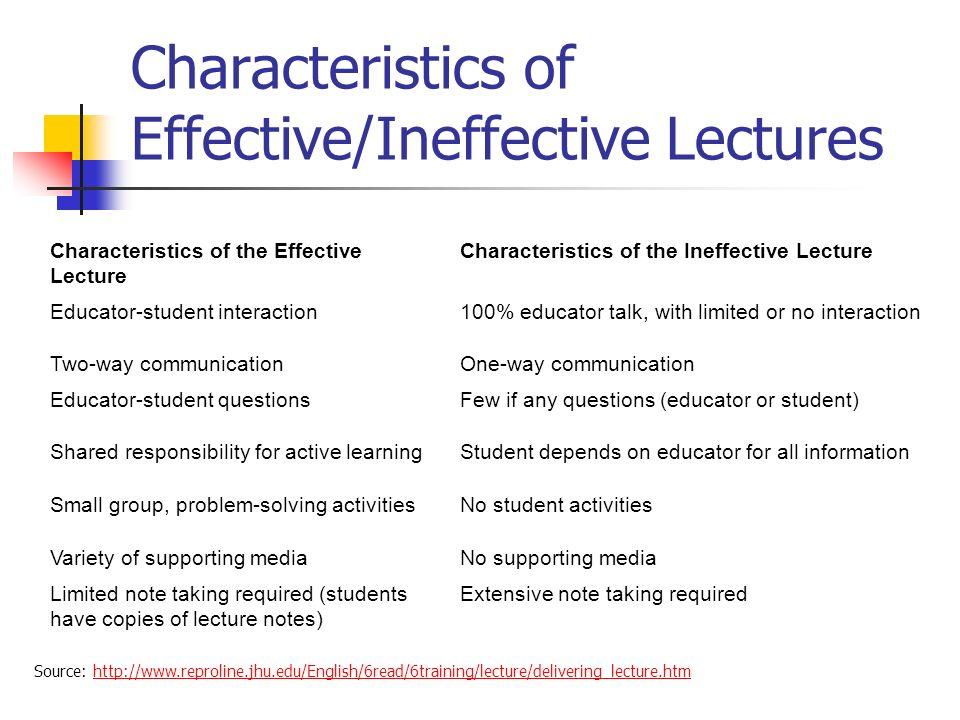 Characteristics of Effective/Ineffective Lectures Characteristics of the Effective Lecture Characteristics of the Ineffective Lecture Educator-student