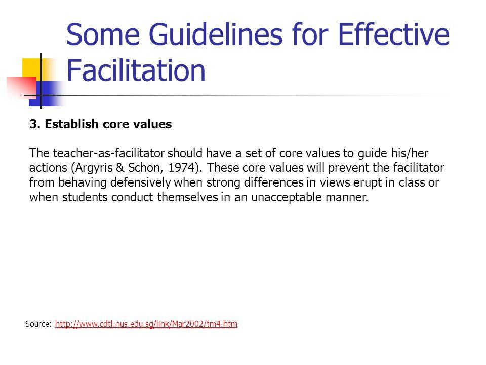 Some Guidelines for Effective Facilitation Source: http://www.cdtl.nus.edu.sg/link/Mar2002/tm4.htmhttp://www.cdtl.nus.edu.sg/link/Mar2002/tm4.htm 3.