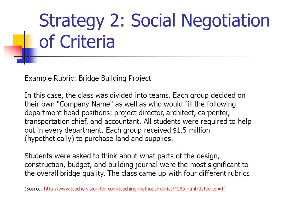 Strategy 2: Social Negotiation of Criteria Example Rubric: Bridge Building Project In this case, the class was divided into teams. Each group decided