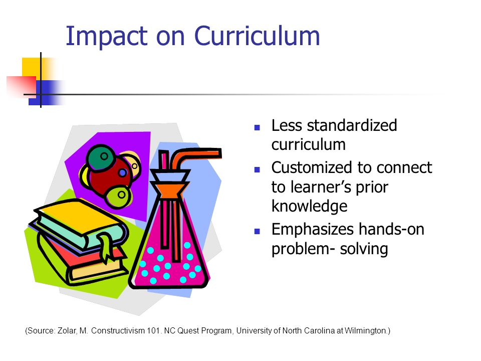 Impact on Curriculum Less standardized curriculum Customized to connect to learners prior knowledge Emphasizes hands-on problem- solving (Source: Zolar, M.