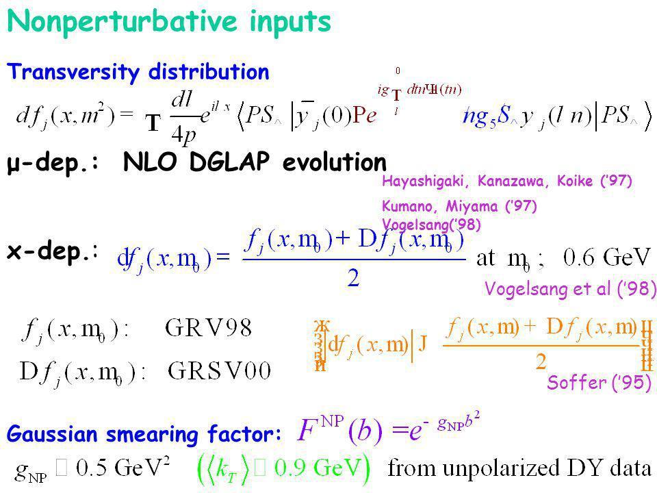 Transversity distribution μ-dep.: NLO DGLAP evolution Hayashigaki, Kanazawa, Koike (97) Kumano, Miyama (97) Vogelsang(98) Soffer (95) x-dep.: Vogelsang et al (98) Nonperturbative inputs Gaussian smearing factor: