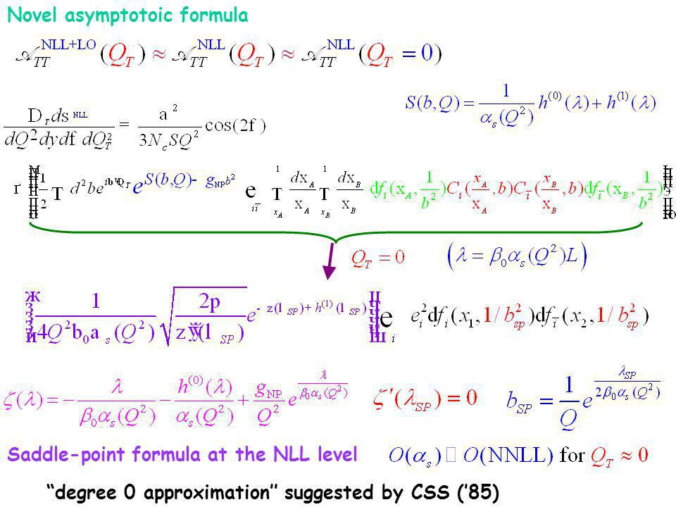 Novel asymptotoic formula Saddle-point formula at the NLL level degree 0 approximation suggested by CSS (85)