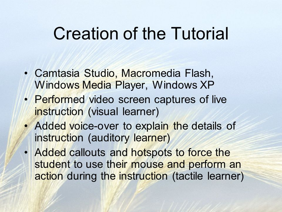 Creation of the Tutorial Camtasia Studio, Macromedia Flash, Windows Media Player, Windows XP Performed video screen captures of live instruction (visual learner) Added voice-over to explain the details of instruction (auditory learner) Added callouts and hotspots to force the student to use their mouse and perform an action during the instruction (tactile learner)