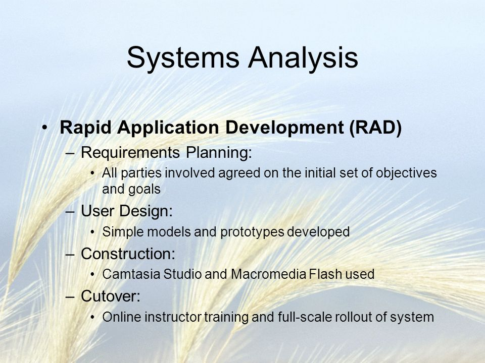 Systems Analysis Rapid Application Development (RAD) –Requirements Planning: All parties involved agreed on the initial set of objectives and goals –User Design: Simple models and prototypes developed –Construction: Camtasia Studio and Macromedia Flash used –Cutover: Online instructor training and full-scale rollout of system