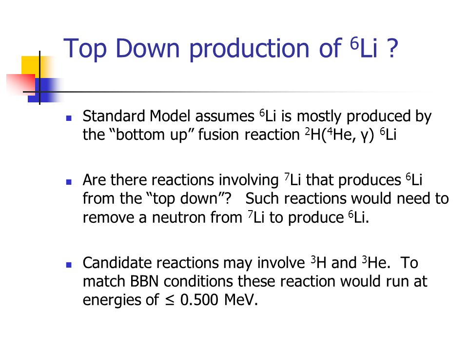 Top Down production of 6 Li ? Standard Model assumes 6 Li is mostly produced by the bottom up fusion reaction 2 H( 4 He, γ) 6 Li Are there reactions i