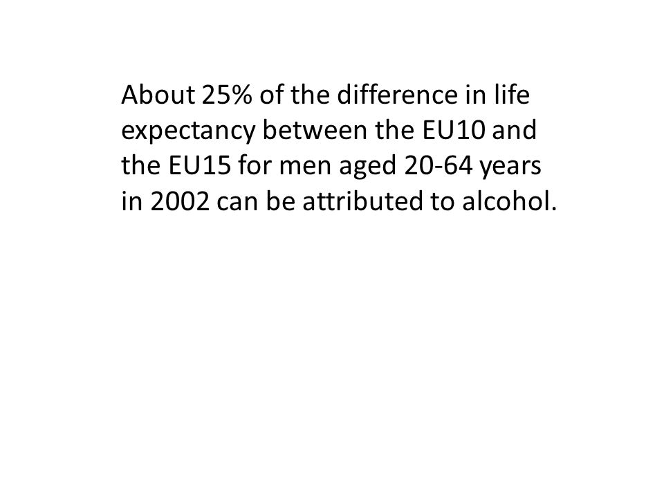 About 25% of the difference in life expectancy between the EU10 and the EU15 for men aged 20-64 years in 2002 can be attributed to alcohol.