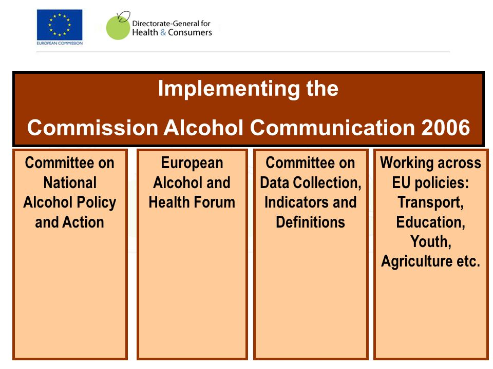 Implementing the Commission Alcohol Communication 2006 Committee on National Alcohol Policy and Action Committee on Data Collection, Indicators and Definitions European Alcohol and Health Forum Working across EU policies: Transport, Education, Youth, Agriculture etc.