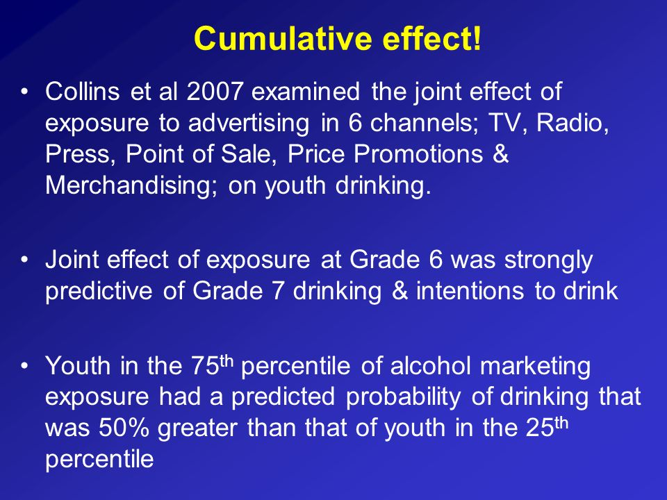 Collins et al 2007 examined the joint effect of exposure to advertising in 6 channels; TV, Radio, Press, Point of Sale, Price Promotions & Merchandisi