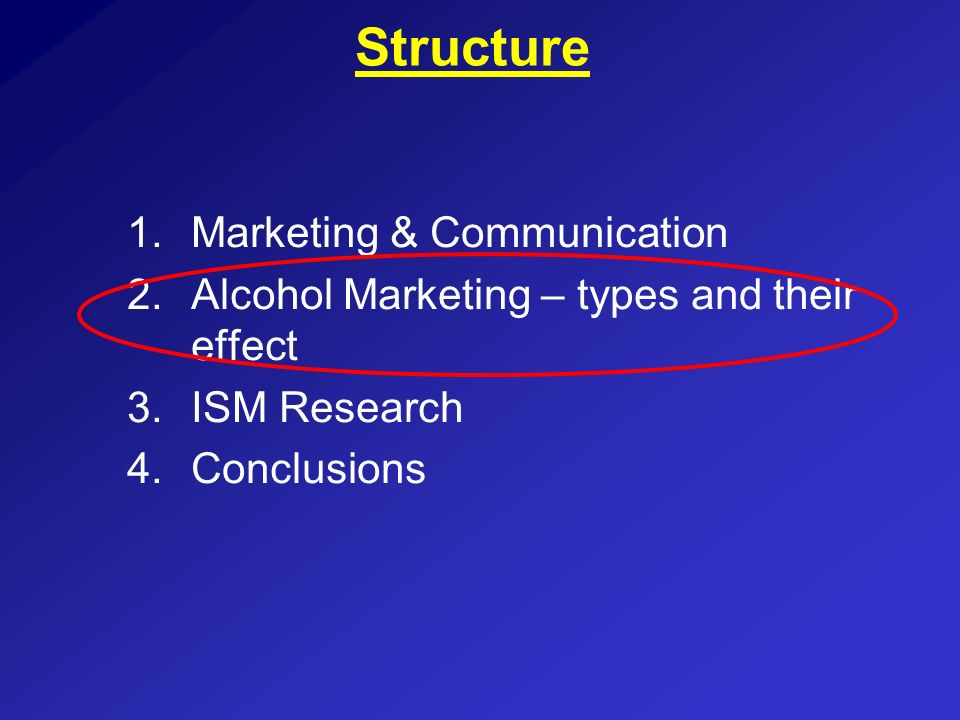Structure 1.Marketing & Communication 2.Alcohol Marketing – types and their effect 3.ISM Research 4.Conclusions