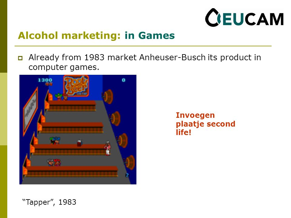 Already from 1983 market Anheuser-Busch its product in computer games.