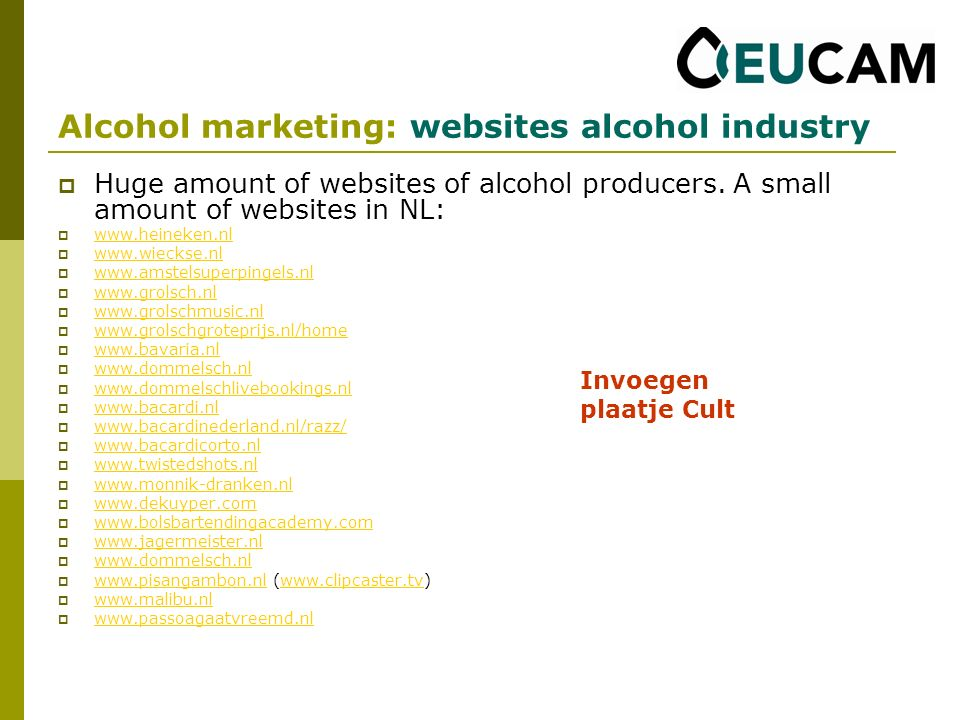Huge amount of websites of alcohol producers.