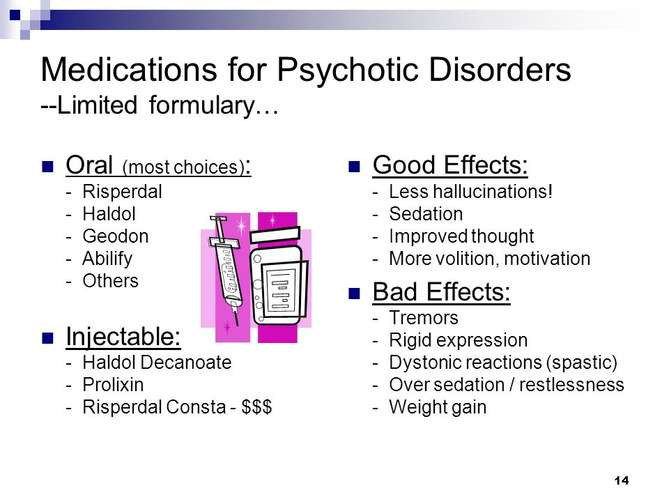 14 Medications for Psychotic Disorders --Limited formulary… Oral (most choices) : - Risperdal - Haldol - Geodon - Abilify - Others Injectable: - Haldo