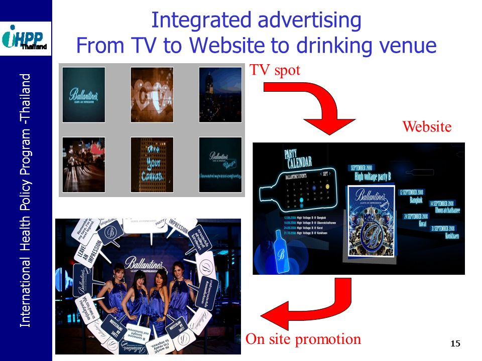International Health Policy Program -Thailand 15 Integrated advertising From TV to Website to drinking venue TV spot Website On site promotion