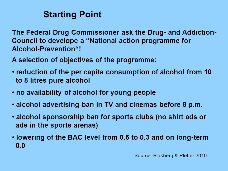 The Federal Drug Commissioner ask the Drug- and Addiction- Council to develope a National action programme for Alcohol-Prevention.