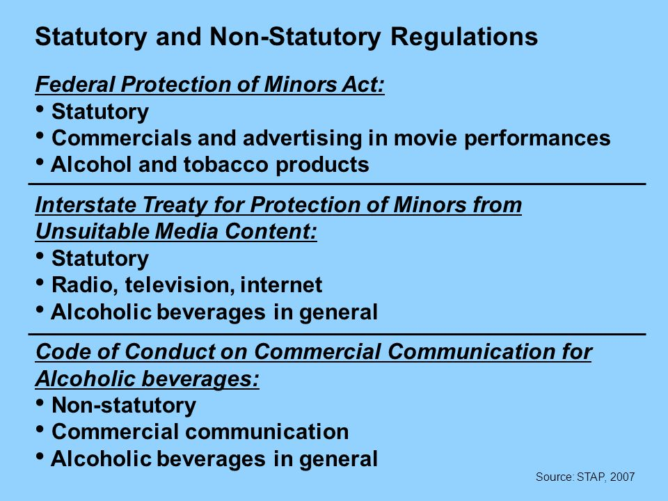 Statutory and Non-Statutory Regulations Federal Protection of Minors Act: Statutory Commercials and advertising in movie performances Alcohol and tobacco products Interstate Treaty for Protection of Minors from Unsuitable Media Content: Statutory Radio, television, internet Alcoholic beverages in general Code of Conduct on Commercial Communication for Alcoholic beverages: Non-statutory Commercial communication Alcoholic beverages in general Source: STAP, 2007