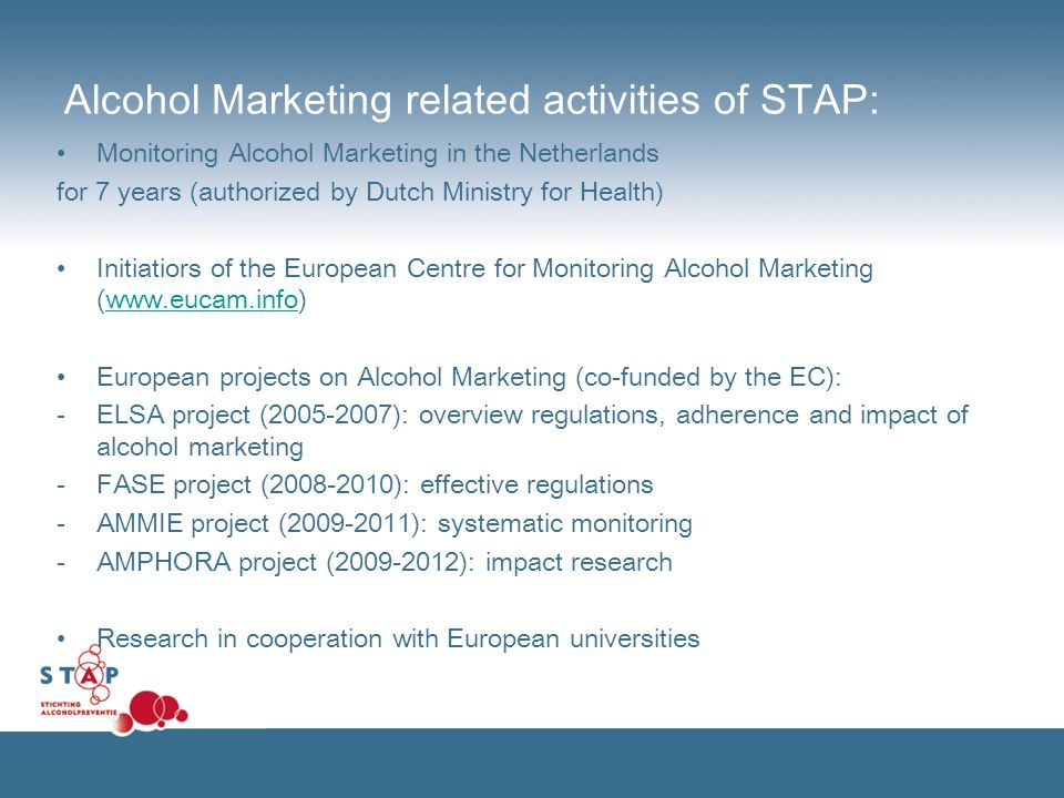 Alcohol Marketing related activities of STAP: Monitoring Alcohol Marketing in the Netherlands for 7 years (authorized by Dutch Ministry for Health) Initiatiors of the European Centre for Monitoring Alcohol Marketing (www.eucam.info)www.eucam.info European projects on Alcohol Marketing (co-funded by the EC): - ELSA project (2005-2007): overview regulations, adherence and impact of alcohol marketing -FASE project (2008-2010): effective regulations -AMMIE project (2009-2011): systematic monitoring -AMPHORA project (2009-2012): impact research Research in cooperation with European universities