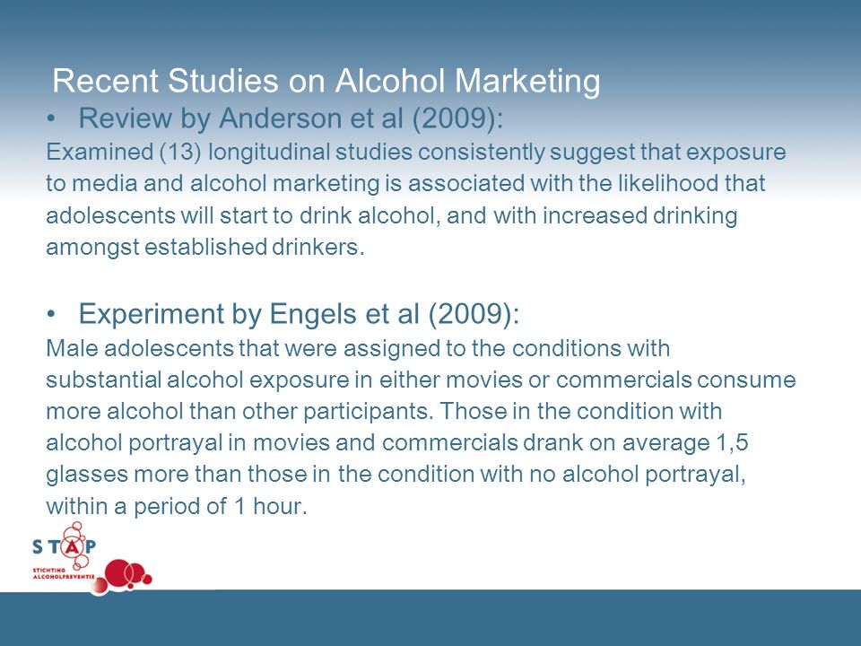 Recent Studies on Alcohol Marketing Review by Anderson et al (2009): Examined (13) longitudinal studies consistently suggest that exposure to media an