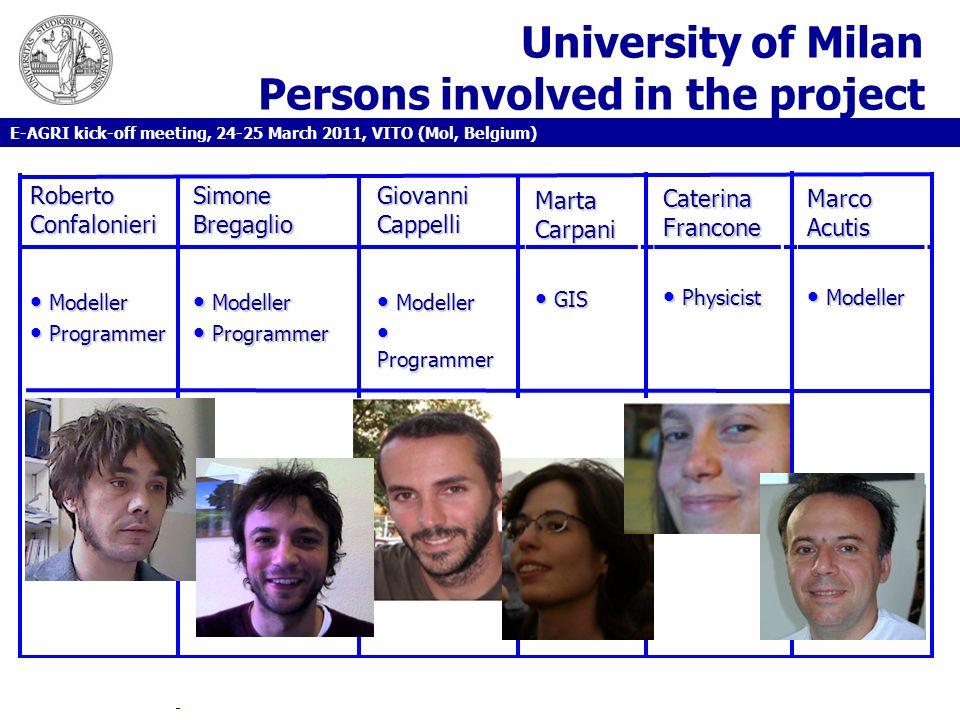 University of Milan Persons involved in the project E-AGRI kick-off meeting, 24-25 March 2011, VITO (Mol, Belgium) Roberto Confalonieri Simone Bregagl