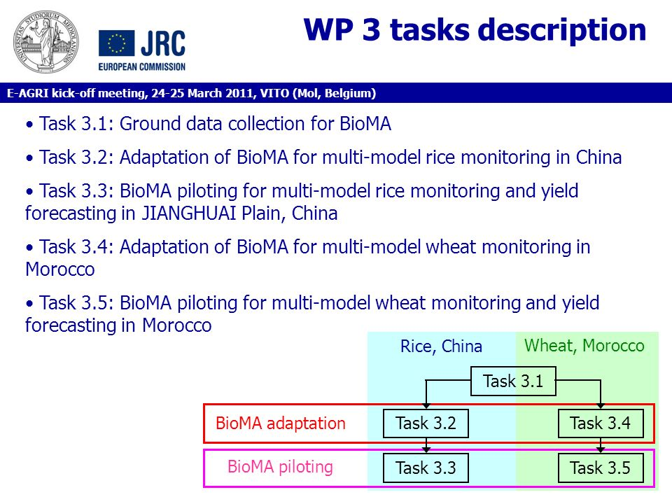 WP 3 tasks description Task 3.1: Ground data collection for BioMA Task 3.2: Adaptation of BioMA for multi-model rice monitoring in China Task 3.3: Bio