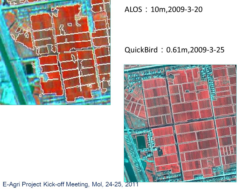 E-Agri Project Kick-off Meeting, Mol, 24-25, 2011 ALOS 10m,2009-3-20 QuickBird 0.61m,2009-3-25