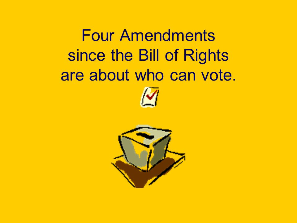 Appendix Each Amendment passed after the Bill of Rights is listed below.