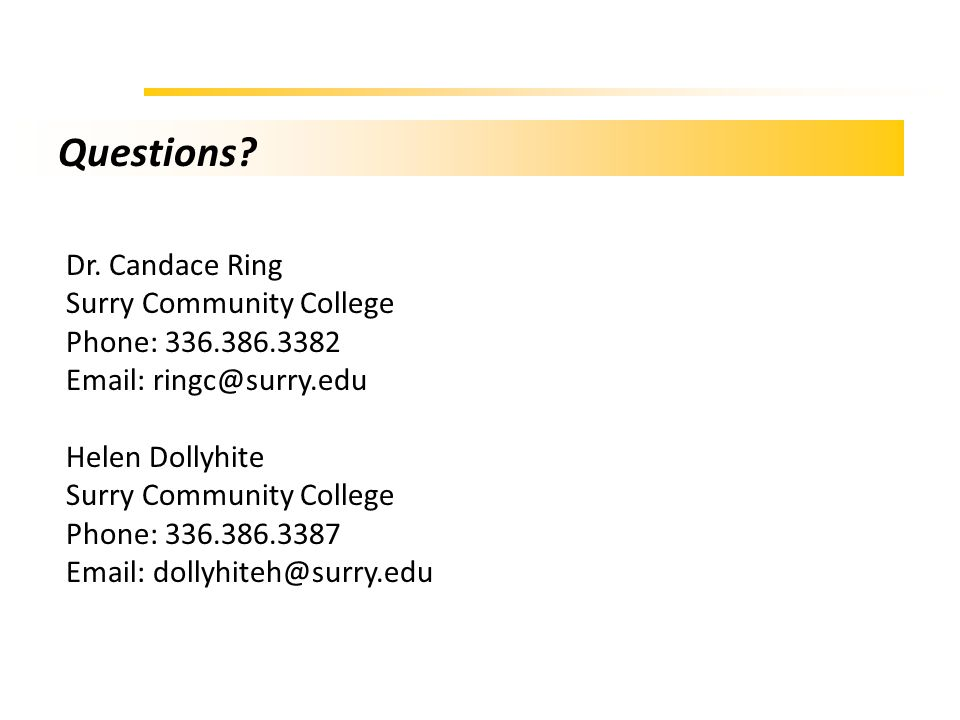 Questions? Dr. Candace Ring Surry Community College Phone: 336.386.3382 Email: ringc@surry.edu Helen Dollyhite Surry Community College Phone: 336.386.