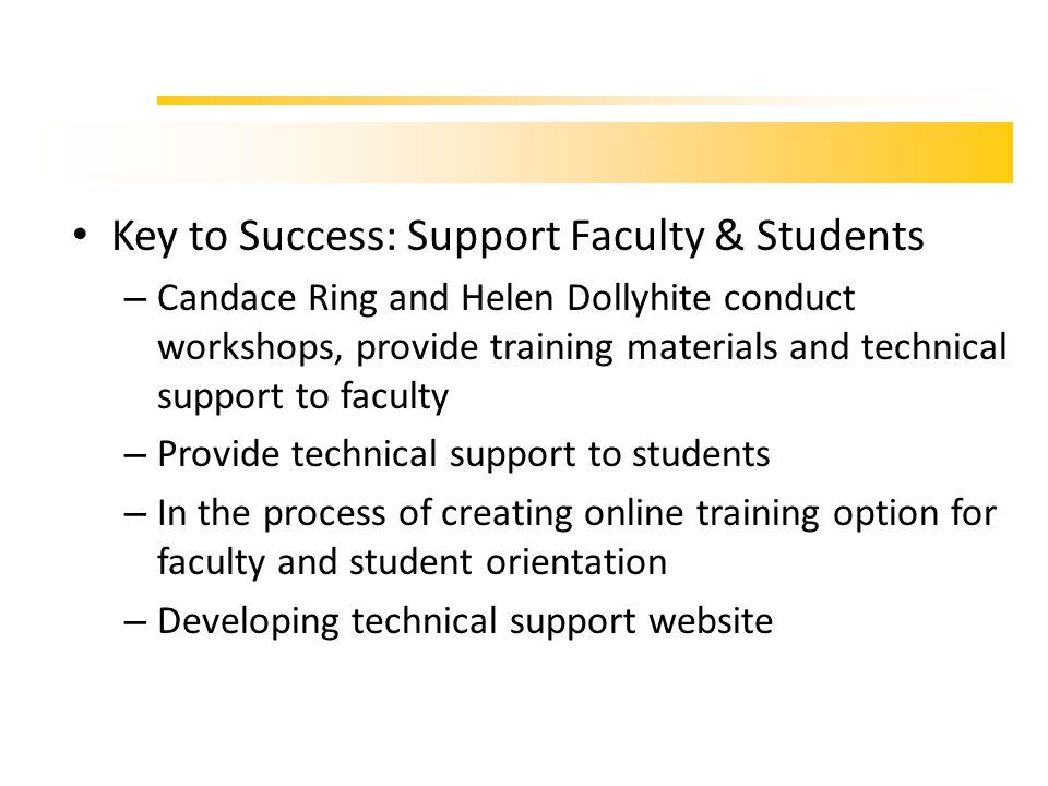 …training & support Key to Success: Support Faculty & Students – Candace Ring and Helen Dollyhite conduct workshops, provide training materials and te