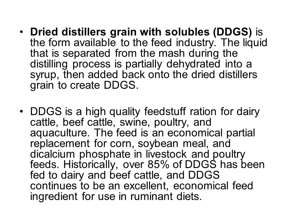 Dried distillers grain with solubles (DDGS) is the form available to the feed industry. The liquid that is separated from the mash during the distilli