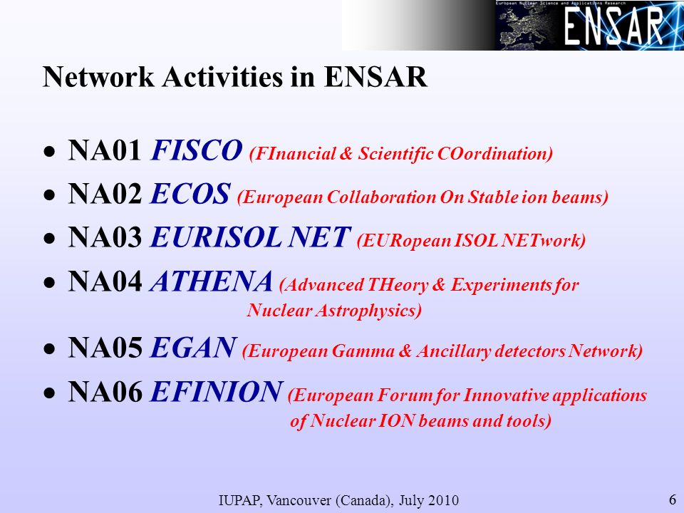 IUPAP, Vancouver (Canada), July 2010 66 Network Activities in ENSAR NA01 FISCO (FInancial & Scientific COordination) NA02 ECOS (European Collaboration