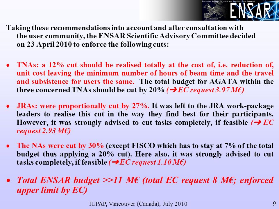 IUPAP, Vancouver (Canada), July 2010 9 Taking these recommendations into account and after consultation with the user community, the ENSAR Scientific