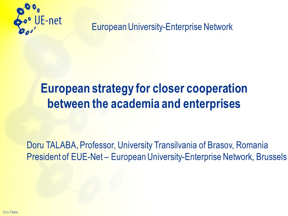 Doru Talaba EUE-Net Initially started as EUI-Net EUE-Net – a new stage – addressing the needs of micro and small enterprises 82 Partners in all European countries 3 years of EUI-Net Well established instruments –Annual EUE-Net Conference –Special Interest Groups = Sub-Networks –Technical meetings – each 3..4 months