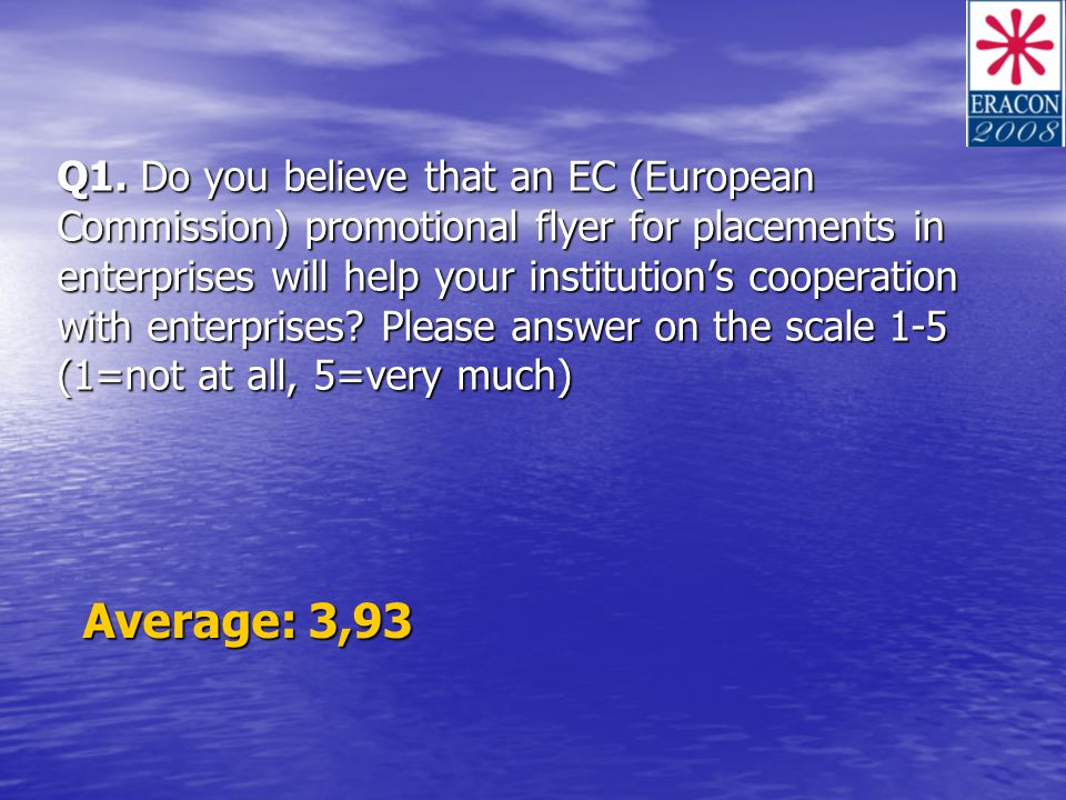 Q1. Do you believe that an EC (European Commission) promotional flyer for placements in enterprises will help your institutions cooperation with enter