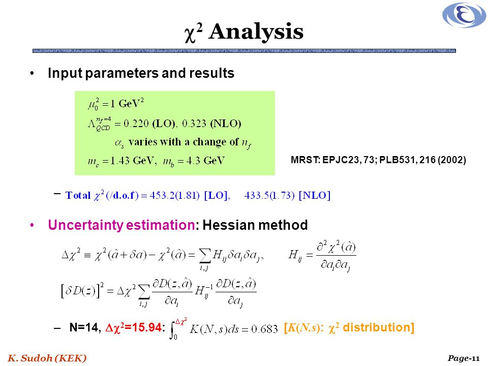 K. Sudoh (KEK) Page-11 2 Analysis Input parameters and results – Uncertainty estimation: Hessian method –N=14, 2 =15.94: [ K(N.s) : 2 distribution] MR
