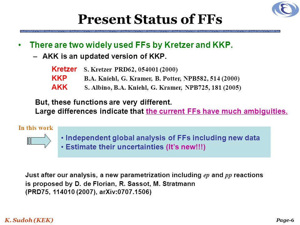 K. Sudoh (KEK) Page-6 Present Status of FFs There are two widely used FFs by Kretzer and KKP.