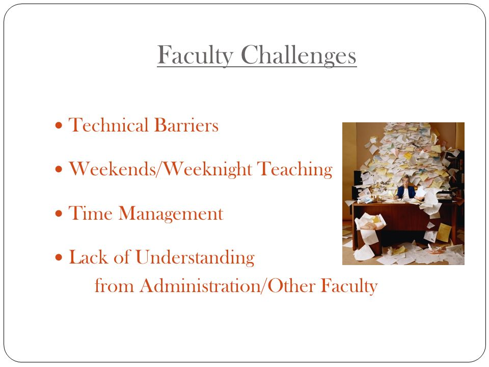 Faculty Challenges Technical Barriers Weekends/Weeknight Teaching Time Management Lack of Understanding from Administration/Other Faculty