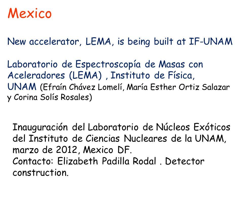 Mexico New accelerator, LEMA, is being built at IF-UNAM Laboratorio de Espectroscopía de Masas con Aceleradores (LEMA), Instituto de Física, UNAM (Efr