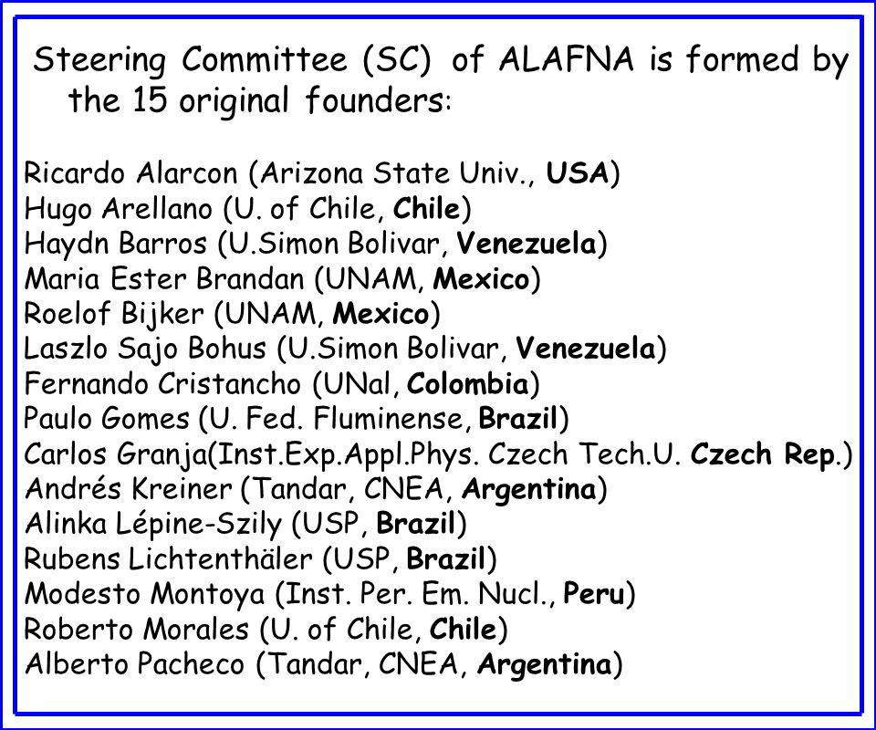 Objectives of ALAFNA To strengthen ties among the Latin American Communities doing nuclear research and applications to foster collaborations and promotion of activities, To educate the scientific community and the general public through the promotion of nuclear physics and the peaceful uses of nuclear technology, To do periodic overall assessments of nuclear science in Latin America in the context of world wide activities, and To discuss at a multi-national level future planning of nuclear science activities in Latin America