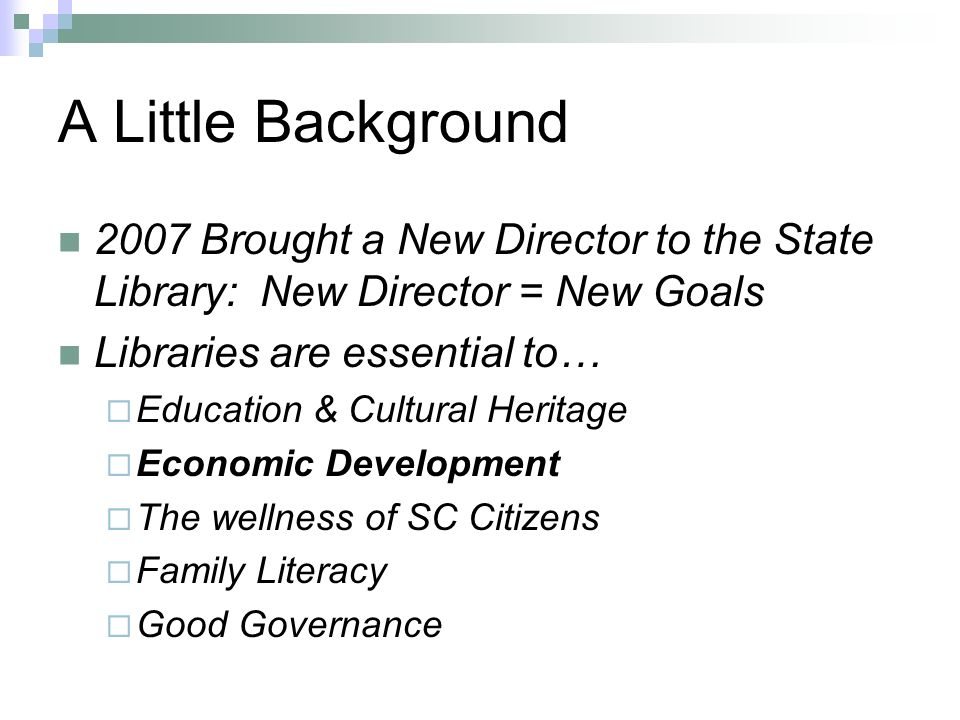 A Little Background 2007 Brought a New Director to the State Library: New Director = New Goals Libraries are essential to… Education & Cultural Heritage Economic Development The wellness of SC Citizens Family Literacy Good Governance