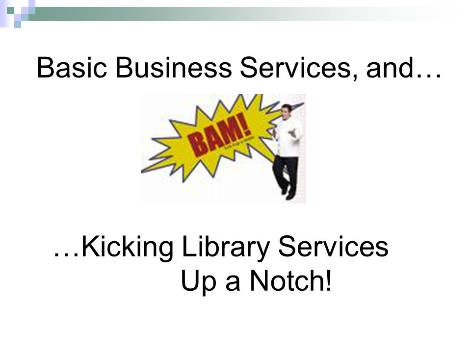 …Kicking Library Services Up a Notch! Basic Business Services, and…