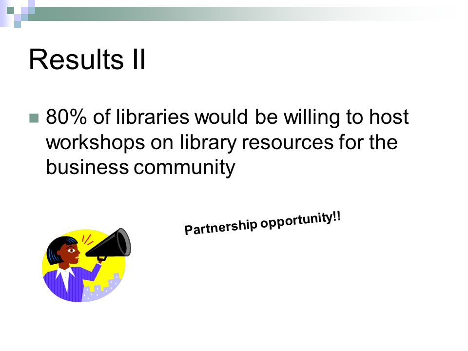 Results II 80% of libraries would be willing to host workshops on library resources for the business community Partnership opportunity!!