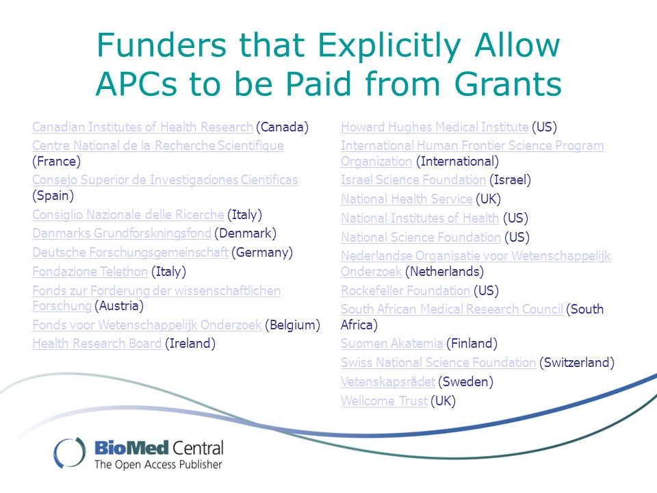 Funders that Explicitly Allow APCs to be Paid from Grants Canadian Institutes of Health ResearchCanadian Institutes of Health Research (Canada) Centre