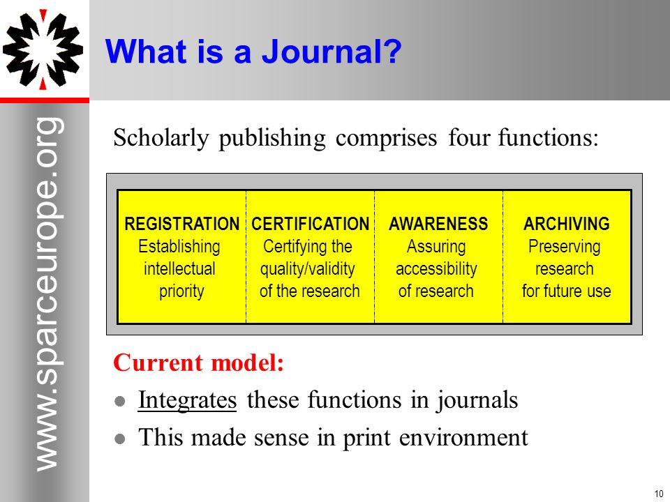 10 www.sparceurope.org 10 What is a Journal? Scholarly publishing comprises four functions: Current model: Integrates these functions in journals This
