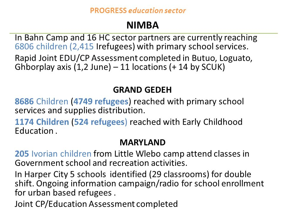PROGRESS education sector NIMBA In Bahn Camp and 16 HC sector partners are currently reaching 6806 children (2,415 Irefugees) with primary school services.